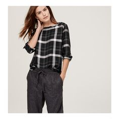 LOFT Autumn Plaid Blouse featuring polyvore, fashion, clothing, tops, blouses, black, loft tops, loft blouse, tartan top, long sleeve tops and long sleeve blouse