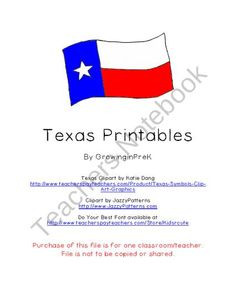 Texas Printables product from Growing-in-Pre-K on TeachersNotebook.com