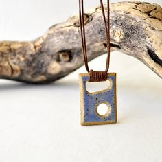 Abstract sculpture stoneWEAR pendant necklace blue geometric charm necklace