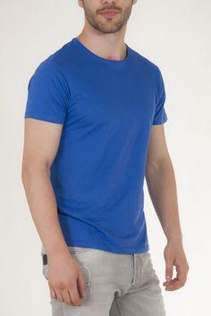 Κοντομάνικη μπλούζα μπλε με στρογγυλή λαιμόκοψη