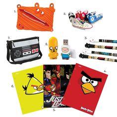 School Supplies for Boys 1. Binder Pouch, zipitstore.com, $9.99 2.Converse Shoe Pencil Pouches, coolpencilcase.com, $22.95 3.Spooky Mummy Gel Pens, coolpencilcase.com, $2.85 4.- 6. Various Folders, Target 7.Nintendo Reversible Messenger Bag, thinkgeek.com, $36.00 8. Adventure Time Mimobot Thumb Drives, thinkgeek.com, $20