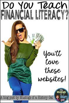 Finanzen - Websites to help you teach financial literacy - Mypin Classroom Games High School, High School Students, Literacy Games Middle School, School Fun, Classroom Teacher, Consumer Math, Financial Literacy, Literacy Skills, Financial Planning