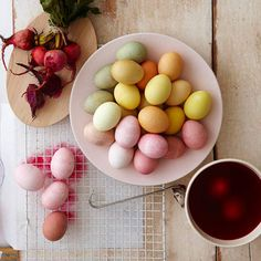 We've used natural dyes to color these pretty eggs. Dye Recipes: http://www.bhg.com/holidays/easter/eggs/natural-easter-egg-dyes/