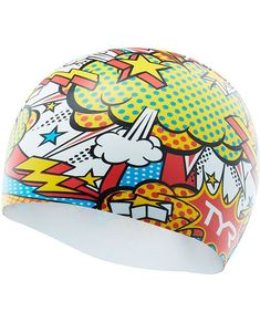 Tyr Silicone Comic Action Swim Cap (lcscomic186) in Multi bc25ee850a80