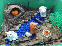 """We're Going on a Bear Hunt"" Sensory Bin Sensory Table, Sensory Bins, Preschool Ideas, Activities For Kids, Baskets, Literature, Homeschool, January, Bible"