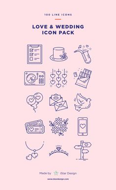 Wedding & Love Icons Set made by iStar Design. Series of 100 pixel-perfect icons, created by influence of the Valentine's Day, Weddings & Love. Neatly organized icon, file and layer structure for better workflow experience. Carefully handcrafted icons usable for digital design or any possible creative field. Suitable for print, web, symbols, apps, infographics.