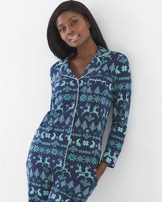 Long Sleeve Notch Collar Pajama Top Cozy Stitch Navy - Soma