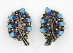 EARRINGS 1930 RARE ANTIQUE Vintage Blue Enamel ETRUSCAN Sterling 950 Non Pierced #Cluster
