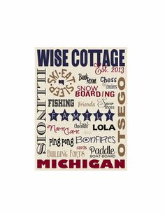 Cottage or Lake House - Completely Custom Large Subway Art ~ Choose Print or Canvas ~ #etsygifts    The perfect piece for your summer or winter cottage or as a way to say thank you for that weekend invite!  This custom piece shows you took the time to find a personal gift.  #etsy