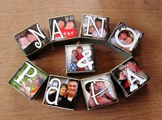 Mimaw & Daddo, of course Craft Gifts, Diy Gifts, Photo Letters, Photo Blocks, Personalized Photo Gifts, Grandparent Gifts, Block Lettering, Recycled Art, Christmas Gifts