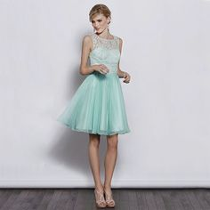 Lace top with chiffon a-line skirt elegant bridesmaid dress - My wedding ideas
