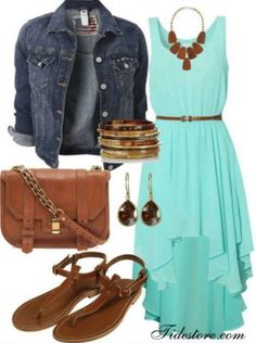 Light Blue summer dress with different shoes and purse