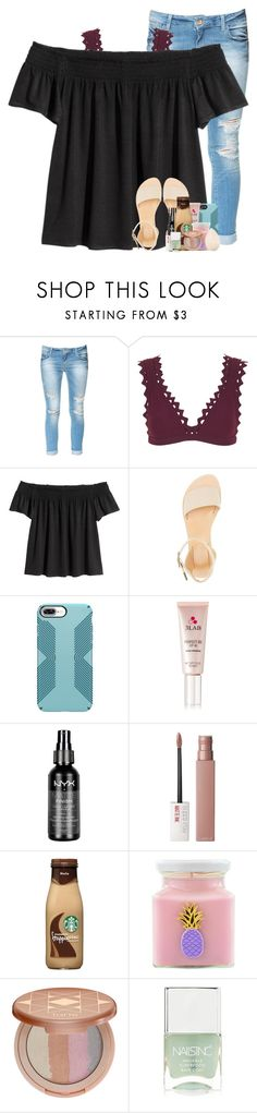 """""""i hate it when you put your all into a friendship, and she saysyour her best friend, yet she always choses the other person over you"""" by betterbeliebitsemcaniff ❤ liked on Polyvore featuring Zara, Karla Colletto, Charlotte Russe, 3LAB, NYX, Maybelline, Flamingo Candles, tarte, Nails Inc. and Christian Dior"""