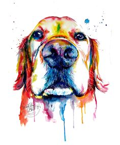 Colorful Golden Retriever Art Print - Print of my Original Watercolor Painting (17.50 USD) by WeekdayBest