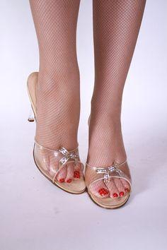 Vintage 1950s Springolators Lucite Heel Wedding Shoes by FabGabs, $135.00