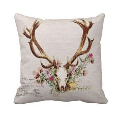 Pillow Cover Floral Deer Antlers by Jolie Marche on Etsy