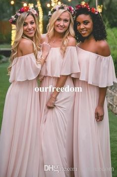 2016 Pink Cheap Long Bridesmaid Dresses Off The Shoulder Chiffon Summer Blush Bridesmaid Formal Prom Party Dresses With Ruffles Long Dress Bridesmaids Dresses From Ourfreedom, $72.37| http://Dhgate.Com