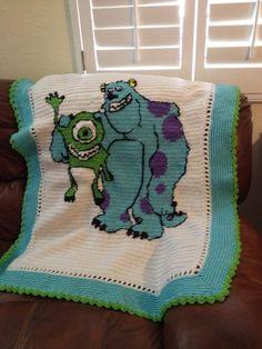 Crocheted monster inc blanket