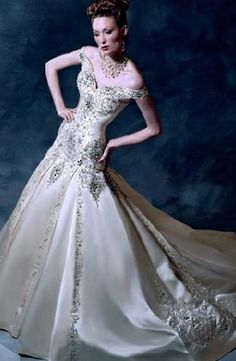 Bridal Gowns: YSA Makino A-Line Wedding Dress with Tip of the Shoulder Neckline and Dropped Waist Waistline Bridal Gown Styles, Bridal Wedding Dresses, Dream Wedding Dresses, Wedding Styles, Wedding Ideas, Wedding Attire, Wedding Wows, Gorgeous Wedding Dress, Beautiful Gowns