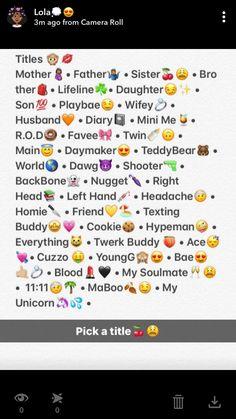 Cute Snapchat Names, Noms Snapchat, Snapchat Nicknames, Nicknames For Friends, Funny Nicknames, Name For Instagram, Instagram Picture Quotes, Instagram Emoji, Friends Instagram