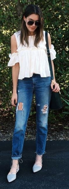 #casualoutfits #spring | Ruffle and Cold Shoulder White Top + Ripped Denim | Thrifts and Threads