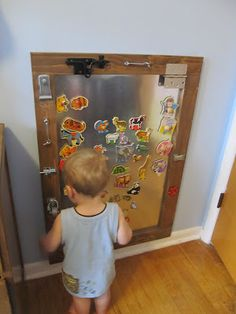 A magnetic board could be a great sensory activities for kids and they might be able to make some magnets out of different materials Sensory Activities, Infant Activities, Activities For Kids, Micro Creche, Toddler Activity Board, Kids Magnets, Busy Board, Kids Zone, Toddler Fun
