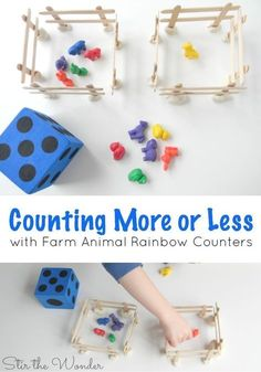 Farm theme: Counting More or Less with Farm Animal Counters