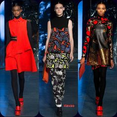 Kenzo RTW FW '14 Adau Mornyang // Kremi Otashliyska // Raschelle Osbourne  Stylist Picks: I'm feeling a little bit dragon lady, a whole lotta love for these three looks.  Source: oncewheniwas.com