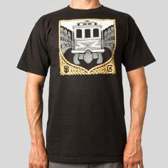 Hallidies Invention Tee in Black #jeremyfish #upperplayground @Upper Playground #halidiesinvention #tshirt #cablecar #trolley #sanfrancisco