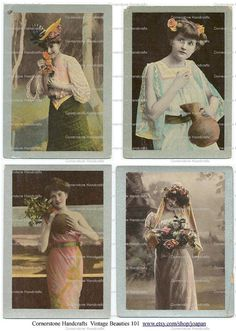 Vintage Beauties Collage Sheet 101  RARE Instant Digital by joapan, $1.49