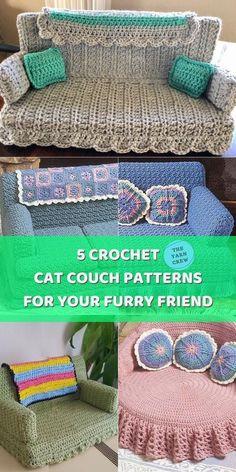 Gato Crochet, Crochet Cat Toys, Crochet Home, Crochet Crafts, Crochet Yarn, Crochet Stitches, Crochet Projects, Free Crochet, Cat Couch