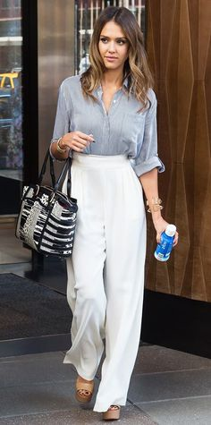 Jessica Alba in Max Mara pants and an alice + olivia by Stacey Bendet top.