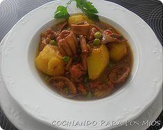 Guiso de Pota o Choupa gallega Pot Roast, Thai Red Curry, Pork, Fish, Ethnic Recipes, Sweet, Ethnic Food, Meals, Christmas Dinner Parties