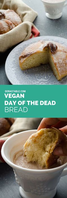 Vegan Day of the Dead Bread (Pan de Muerto). It is airy, moist, with a hint of orange, and is perfect for dipping in hot chocolate. A vegan Mexican recipe. Vegan Mexican Recipes, Delicious Vegan Recipes, Vegetarian Recipes, Vegetarian Mexican, Vegan Bread, Vegan Cake, Vegan Foods, Vegan Dishes, Vegan Sweets