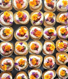 Decadent Coconut Mini cupcakes with Strawberry Conserve, Fresh Strawberries, mint, Basil, Coconut Buttercream and organic edible blooms to garnish. Summer Cupcakes, Strawberry Cupcakes, Mini Cupcakes, Coconut Buttercream, Couture Cakes, Dessert Table, Beautiful Cakes, Strawberries, Basil