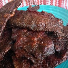 This recipe for beef jerky calls for soy sauce, Worcestershire sauce and liquid smoke for marinating before going into a dehydrator. I hope you enjoy this jerky as much as me and my family do. Best Beef Jerky, Homemade Beef Jerky, Smoked Beef Jerky, Beef Jerky Marinade, Dehydrated Food, Cooking Recipes, Beef Recipes, Traeger Recipes, Cooking Ham
