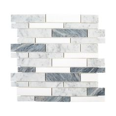 Present a confounding and brilliant appearance to the walls and floors when using Jeffrey Court Lombard Fog Semi-Polished Natural Stone Linear Mosaic Tile. Grey Mosaic Tiles, Stone Mosaic Tile, Mosaic Backsplash, Marble Mosaic, Carrara Marble, Smart Tiles, Marble Wall, Marble Floor, Feature Tiles