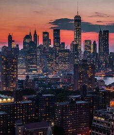 One WTC and Lower Manhattan, NYC. Beautiful World, Beautiful Places, Simply Beautiful, Brooklyn, Lower Manhattan, Manhattan Nyc, Cityscape Photography, Nyc Skyline, Dream City