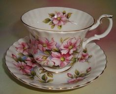 "Royal Albert "" Wild Rose "" Tea Cup and Saucer Set"