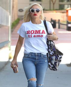 """""""Gwen out in Westwood, CA yesterday, August Star Track, Cool Style, My Style, Gwen Stefani, Celebs, Celebrities, Winter Looks, White Tees, Alternative Fashion"""