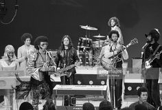 The band, 'Sly and the Family Stone' perform on television October 15, 1969. From left: Rosie Stone, Cynthia Robinson, Sly Stone, Jerry Martini, Freddie Stone, Larry Graham and Gregg Errico on drums.