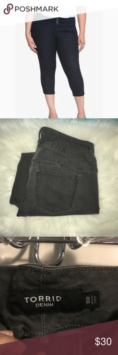 Charcoal Grey Capri Charcoal Grey denim cropped or Capri length 24 inches torrid Jeans Ankle & Cropped