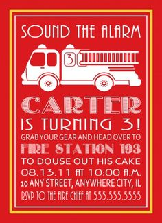 Fire truck party invitation