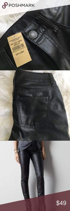 """American Eagle Outfitters Leather Jeans NWT!! Sold out online! Soft stretch vegan leather, Legging-like fit, High 9.75"""" front rise, Higher 13.75"""" back rise. 2 front and back pockets. Zip leg bottoms. Belt loops. Size 4 Long. American Eagle Outfitters Pants Skinny"""