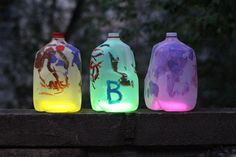 DIY Glowing Milkjug Lanterns - paint Phi Beta Chi letters & decorate w/ white paint & use blue glow sticks - great for Recruitment & to bring attention to Phi Beta Chi
