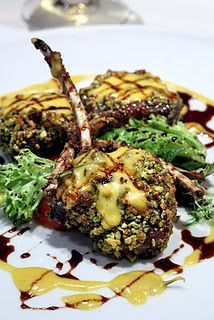 Pistacchio Crusted Lamb Cutlets with Limoncello Creme