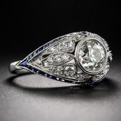 1.46 Carat Art Deco Diamond and Calibre Sapphire Ring