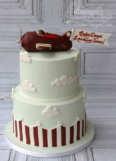 Vintage Airplane Baby Shower Cake Cake for birthday Baby Cakes, Baby Shower Cakes, Airplane Baby Shower Cake, Cupcake Cakes, Shower Baby, Cake Pops, Airplane Birthday Cakes, Airplane Cakes, Airplane Party