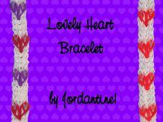 New Lovely Heart Bracelet - Monster Tail or Rainbow Loom -Valentine's Day tutorial by Jordantine1.