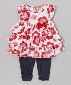 Look at this #zulilyfind! Red Flower Tiered Tunic & Denim Leggings - Toddler by Watch Me Grow #zulilyfinds